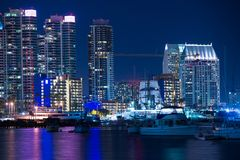 San Diego Marina at Night. San Diego Skyline and the Bay stock photos