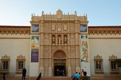 San Diego Museum of Art, Balboa Park. Main building of San Diego Museum of Art in Spanish style, Balboa Park, famous park in California royalty free stock photo