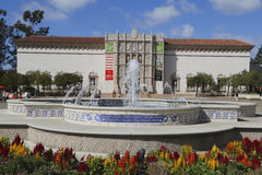 San Diego Museum of Art and Plaza de Panama Fountain in Balboa Park in San Diego Royalty Free Stock Image