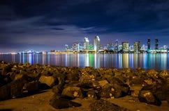 San Diego natthorisont Royaltyfria Foton