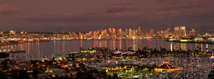 San Diego At Night. Panoramic Composition of San Diego Bay and Skyline At Night stock photography
