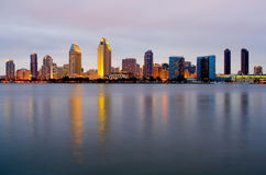 San Diego at night. San Diego skyscrapers from Coronado Island at night royalty free stock image