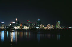 San Diego at night. San Diego Skyline at night with reflections in bay Royalty Free Stock Photo