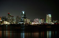 San Diego at night. Downtown of San Diego with harbor at night royalty free stock photos