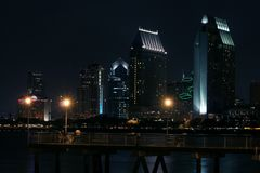 San Diego at Night. View of San Diego Downtown and Ferry Landing on Coronado Island at night Stock Image