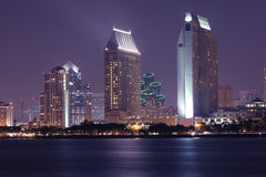 San Diego Nights. View of San Diego downtown at night from Coronado Island Royalty Free Stock Photos