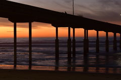 San Diego Ocean Beach Pier at Night Stock Photography