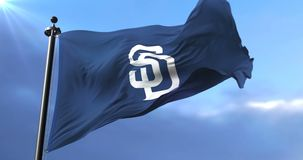 San Diego Padres team flag, american professional baseball - loop. Flag of the team of the San Diego Padres, american professional baseball team, waving at wind stock footage