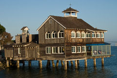 San Diego Pier Cafe. The San Diego Pier Cafe, a San Diego landmark, established in Seaport Village since 1980 is a quaint New England-style full-service royalty free stock image