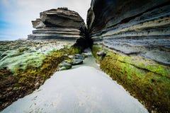 San Diego plaży crevasse w piaskowu fotografia royalty free