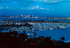San Diego with Shelter Island at dusk Stock Photos