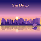 San Diego silhouette on sunset background Royalty Free Stock Image