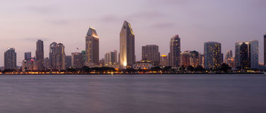 San Diego Skyline Waterfront Dusk Horizontal Stock Photography