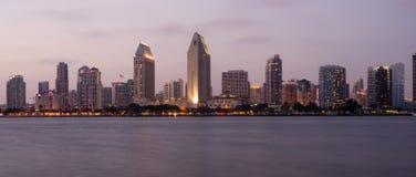 San Diego Skyline Waterfront Dusk Horizontal Stock Photography