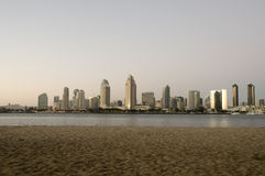 San Diego Skyline. At Sunset in California with Bay in the Foreground Royalty Free Stock Photos