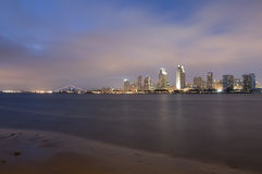 San Diego Skyline. At Sunset in California with Bay in the Foreground stock photo