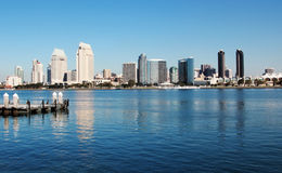 San Diego Skyline. Mid morning view of skyscrapers of San Diego, California, USA from the island of Coronado stock photos
