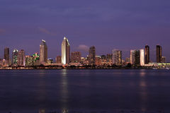 San Diego Skyline. Evening skyline of San Diego California with bay water in foreground royalty free stock photos