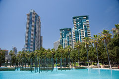 San Diego Skyline. A San Diego park and pool in the downtown area stock image