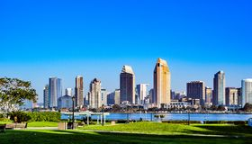 The San Diego Skyline as Seen From Coronado Island. This view of the San Diego Skyline can be seen from Coronado Island Near the Ferry Landing stock images