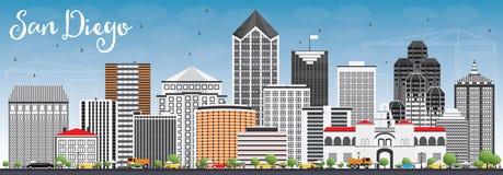 San Diego Skyline avec Gray Buildings et le ciel bleu illustration stock