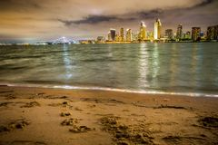 San Diego Skyline with bay and sunset. San Diego Skyline with beach and bay as seen from Coronado stock photo
