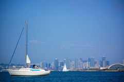 San Diego Skyline. Beautiful Photograph of the San Diego Skyline from the Habour with a Yacht in the foreground Stock Image