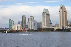 San Diego skyline California. San Diego skyline and a passing speed boat Royalty Free Stock Image