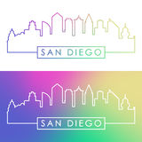 San Diego skyline. Colorful linear style Stock Photography