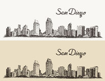 San Diego skyline evector hand drawn sketch. San Diego skyline big city architecture vintage engraved vector illustration hand drawn sketch Stock Photography