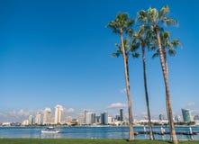 San Diego Skyline från den Coronado ön Royaltyfria Foton