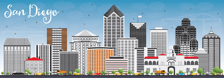 San Diego Skyline with Gray Buildings and Blue Sky. Vector Illustration. Business Travel and Tourism Concept with Modern Architecture. Image for Presentation Royalty Free Stock Photo