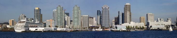 The San diego Skyline and Harbor panorama Stock Image