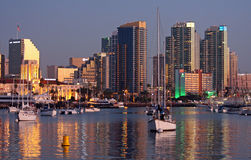 San Diego skyline and harbor at twilight Stock Photos
