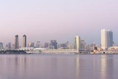 San Diego skyline. Modern San Diego skyline across the bay at dusk, California Stock Image