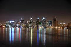 San Diego skyline at night Stock Images