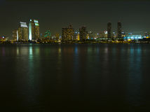 San Diego Skyline at Night. Reflected on the bay Stock Images
