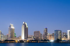 San Diego Skyline at Night Royalty Free Stock Images