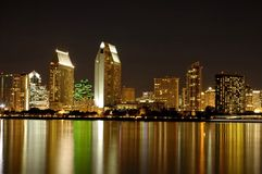 San Diego Skyline at night. San Diego Skyline night scenes royalty free stock photo