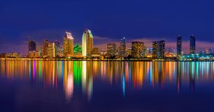 Downtown San Diego at Night. Beautiful night skyline of downtown San Diego taken from Coronado island stock photo