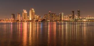San Diego skyline at night golden colors. Seaport Village and Coronado Island, San Diego stock image