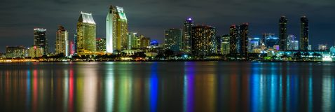 San Diego Skyline at Night stock photography