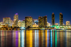 The San Diego skyline at night, seen from Centennial Park, in Co Stock Images