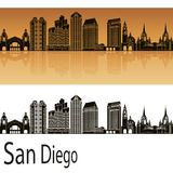 San Diego skyline in orange. Background in editable vector file Stock Photography