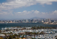 San Diego Skyline over yachts in harbor Royalty Free Stock Images