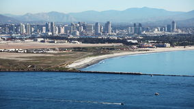 San Diego skyline with the Pacific Ocean in the foreground stock footage