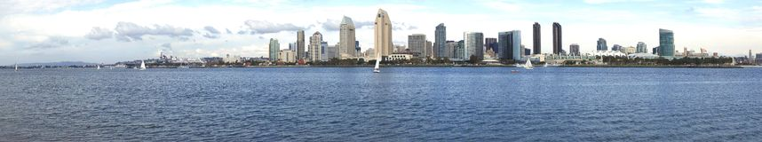 San Diego skyline panorama. San Diego panorama seen from across the bay on Coronado island Stock Photography