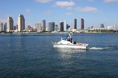 San Diego skyline and a patrol boat. Stock Photography