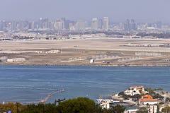 San Diego skyline from Point Loma island California. View of San Diego skyline hazy atmosphere from Point Loma Island California royalty free stock photos