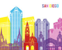 San Diego skyline pop. In editable vector file vector illustration